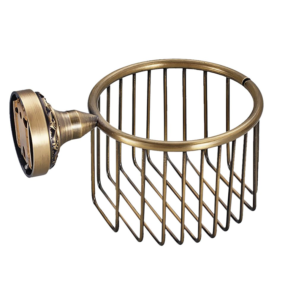 MonkeyJack Vintage Wall Mount Solid Brass Toilet Roll Paper Holder Wire Basket Oil Rubbed Bronze Bathroom Cosmetics Storage with Pattern