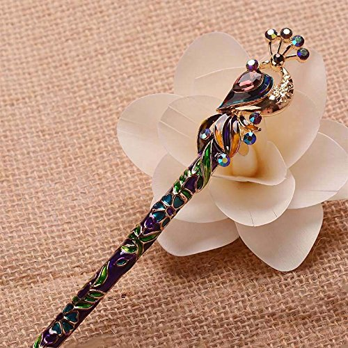 loisonne Enamel Crystal Peacock Hair Stick Hairpin Chinese Style Handmade Hair Accessories ()