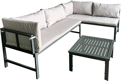 Amazon Basics Aluminum Outdoor L-Shaped Sofa Lounge Set