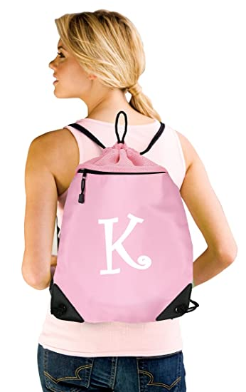 8e65e0ad6792 Cute PERSONALIZED Drawstring Backpack Cinch Bag Pack w Monogram Initial  Print