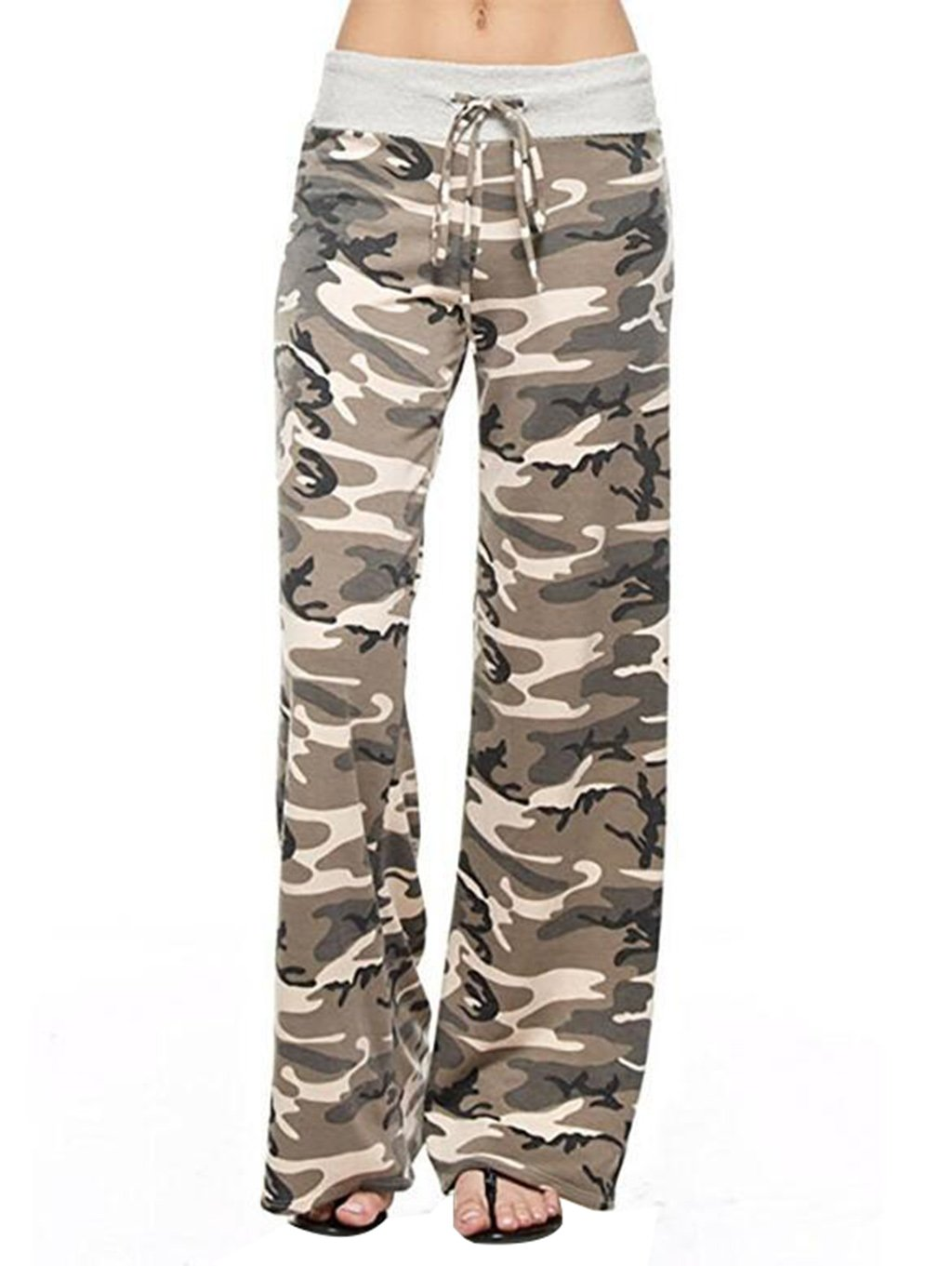 GUOLEZEEV Womens Camouflage Drawstring Loose Lounge Pants Casual Wide Leg Trouser S