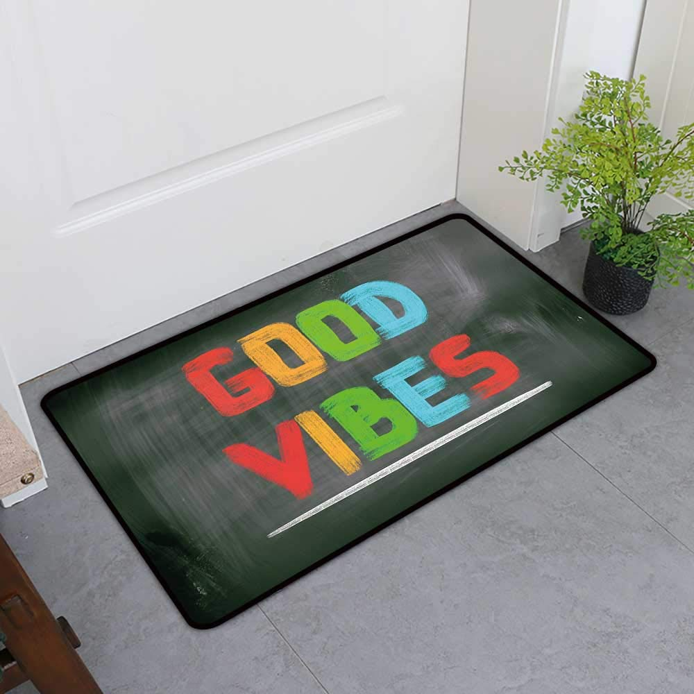 TableCovers&Home Welcome Front Mat, Good Vibes Decorative Doormats for Bedroom, Colorful Chalk Writing on Blackboard Image Positivity Optimism and Happiness (Multicolor, H36 x W60)