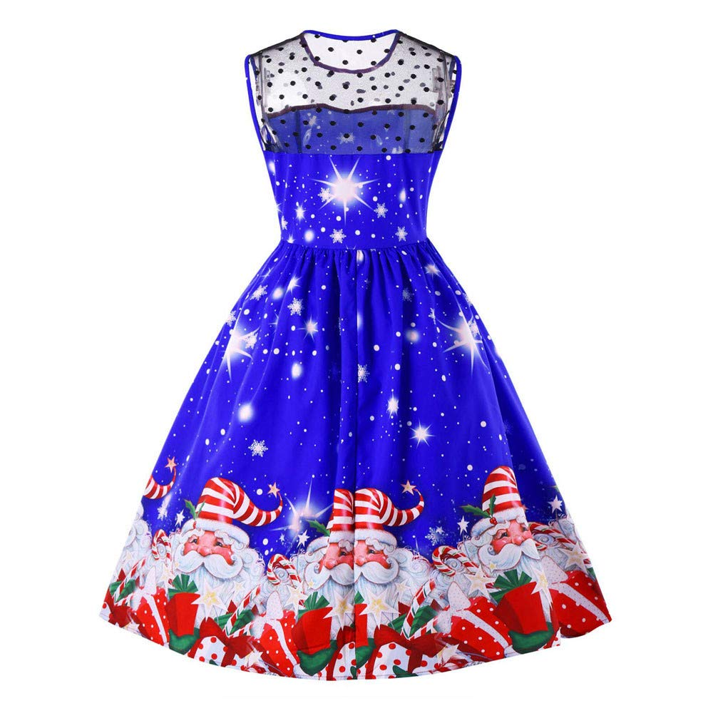 YOMXL Women O-Neck Mini Dress Casual Sleeveless Christmas Tree Printed Vintage Swing Dress Evening Party Prom Dress