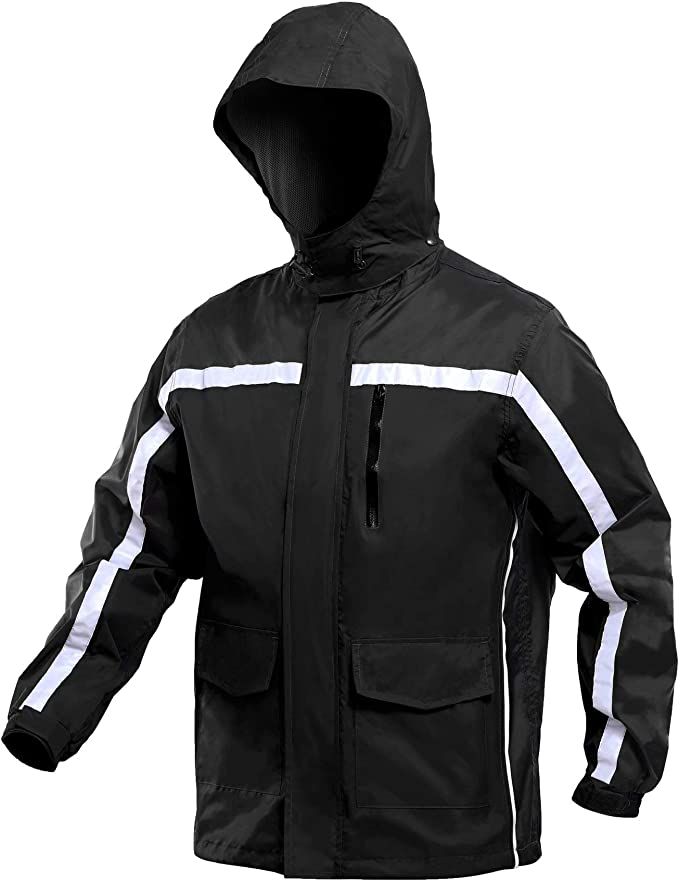 PJ PAUL JONES Mens Hooded Long Rain Jacket Windbreaker Lightweight Waterproof Outdoor Rain Coat