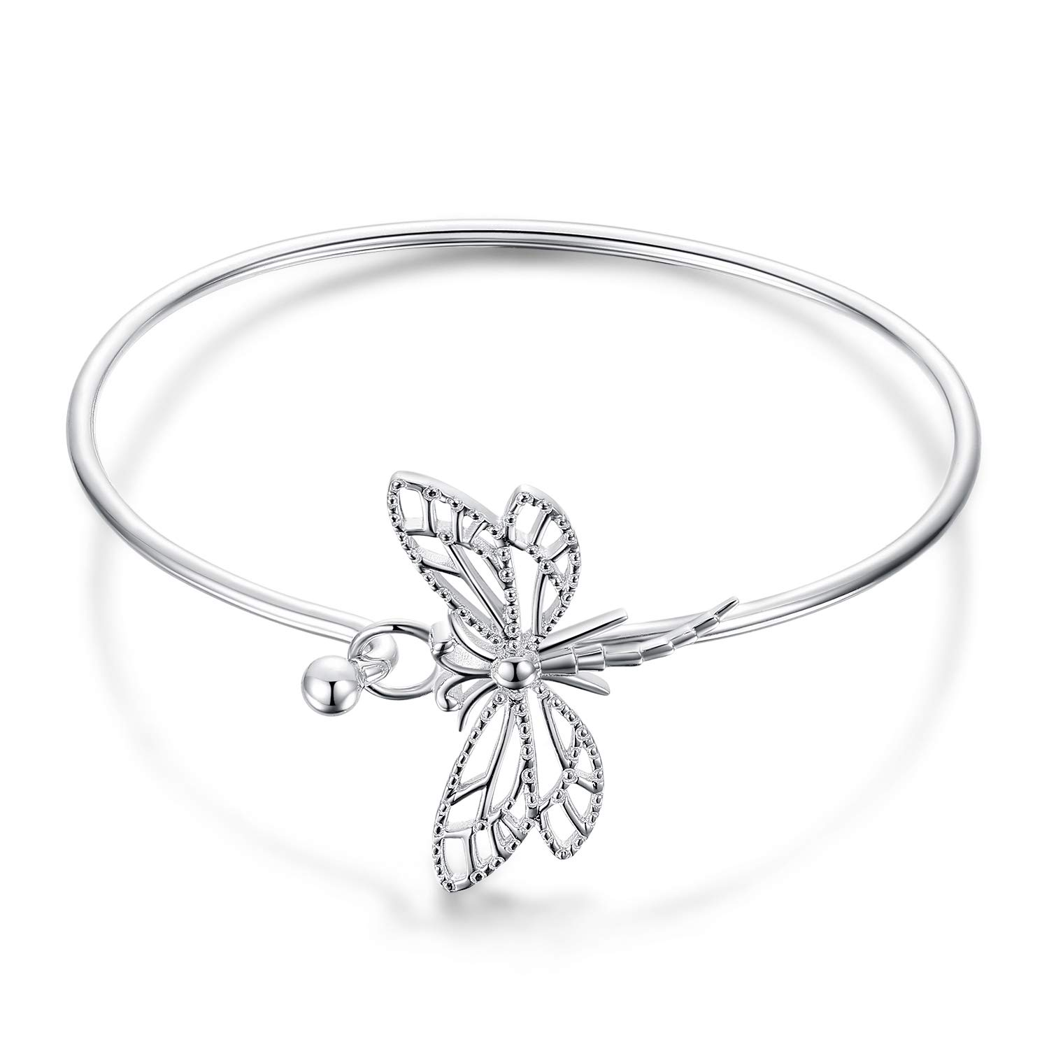 JewelryPalace 925 Sterling Silver Hollow Dragonfly Open Bangle Bracelet