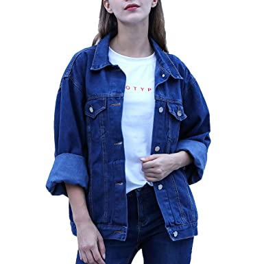 daf10dda4a83 RJUP Oversized Denim Jackets Women Long Sleeve Boyfriend Jean Jacket Loose  Coat (Dark Blue,