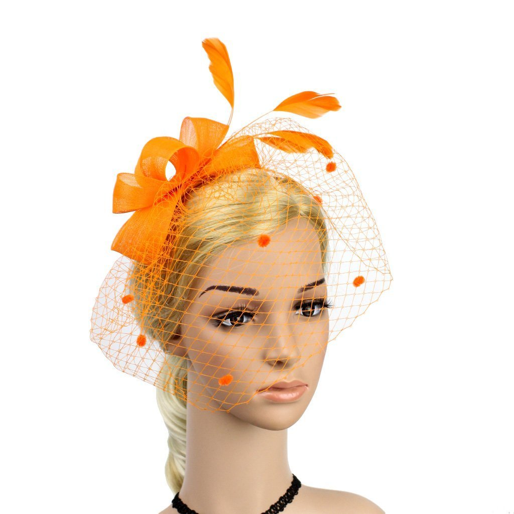 Merya Dress DotVeil Kentucky Derby Fascinator Hats Feather Prom Cocktail Tea Party Hats Orange