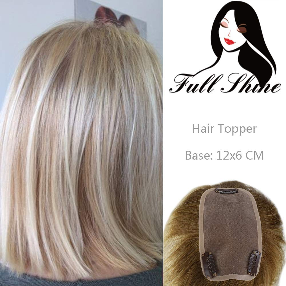 Full Shine Hair Crown Hair Piece Topper 10 inch #18 Highlighted with Color #613 Clip in Real Human Hair Hand-made Lace Base Hairpiece For Women Free Part Mono Top 12x6CM Clip in Toupee