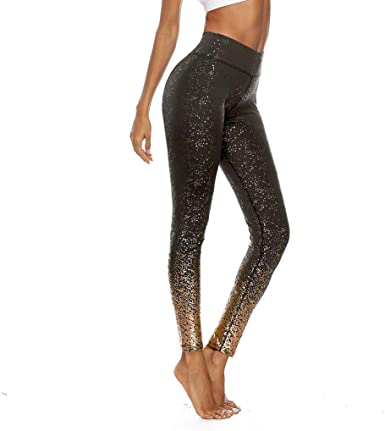 Womens Hot-Stamping Gold Glitter Print Leggings Yoga Pants High Waist Skinny Long Trousers Workout Fitness Running Gym Tights Running Compression Leggings Sweatpants Womens Workout Yoga Pants