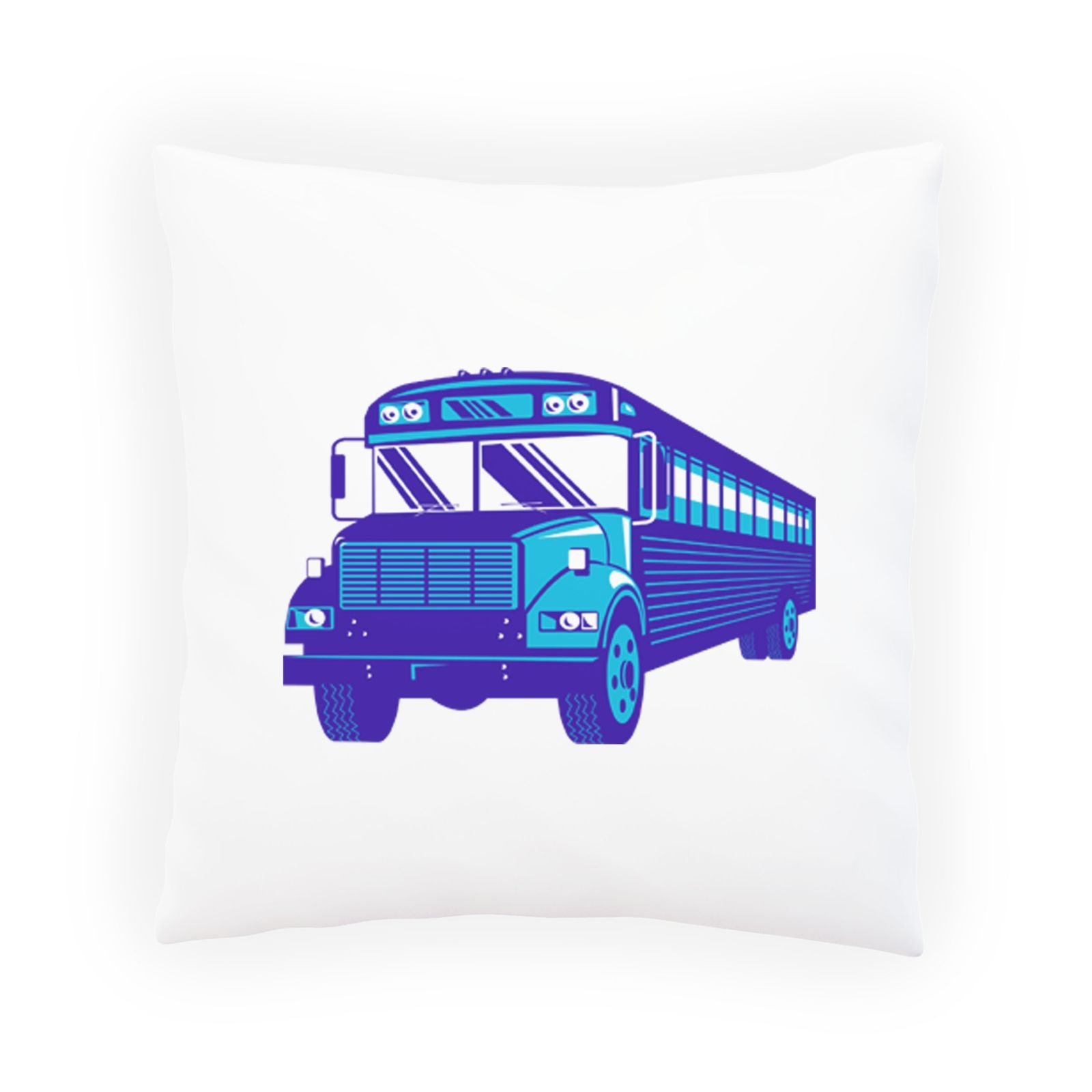 School Bus Blue Colour Decorative Pillow , Cushion cover with Insert or Without p370p