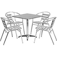 Deals on Flash Furniture 27.5-inch Square Aluminum Indoor-Outdoor Table Set