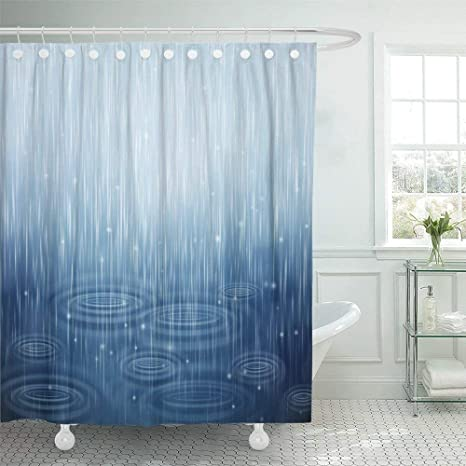 Abaysto Blue Weather With Rain And Waves On The Drops Water Puddle Rainy Shower Home Decor Shower Curtain Sets With Hooks Polyester Fabric Great Gift Home Kitchen