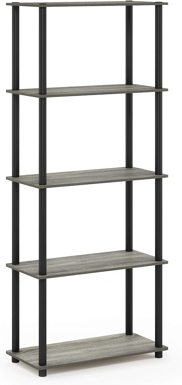 Furinno Turn-N-Tube 5-Tier Multipurpose Shelf Display Rack, Single, French Oak Grey/Black