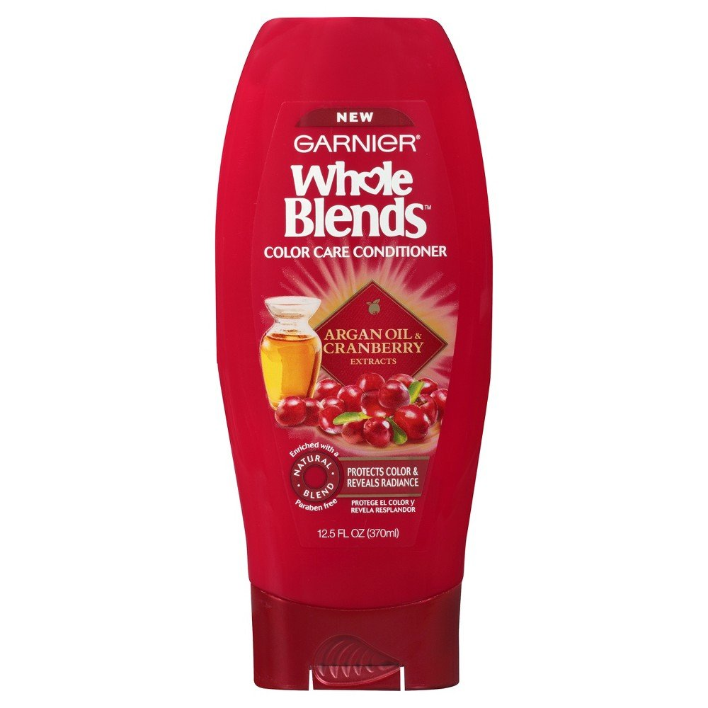 Garnier Whole Blends Argan Oil and Cranberry Conditioner for Colored-Hair. Enhancing Color, Paraben-Free, 370 ml (Packaging may vary)