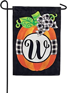 Custom Decor Gingham Pumpkin - Letter W - Embroidered Monogram - Decorative Double Sided Flag - Garden Size, 12 Inch X 18 Inch, Licensed, Copyright & Trademark CDI. USA