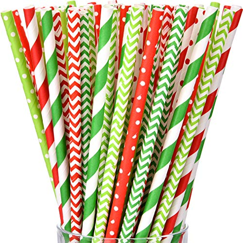 200 Pieces Hawaiian Luau Party Paper Straw Flamingo Pineapple Colorful Stripe Paper Straw for Summer Holiday Swimming Pool Party (Color Set -