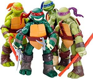 Zinessa Teenage Mutant Ninja Turtle Toys Set of 4, 4.7in, Teenage Mutant Ninja Turtle Action Figures,Detachable Weapons,Children's Birthday Collection