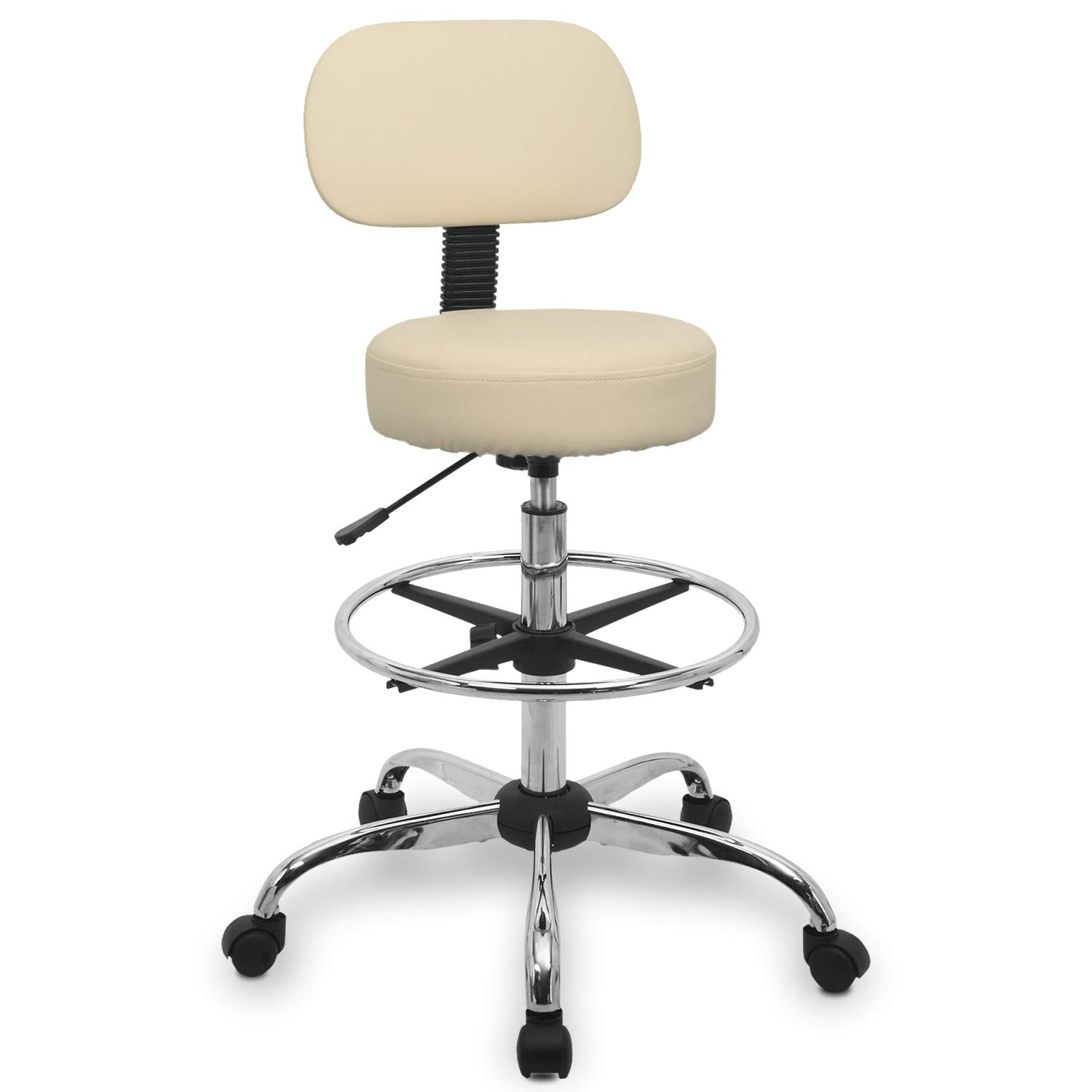 Urest Rolling Stool Chair Height Adjustable Swivel with Back Cushion, Foot Rest and Wheels, Drafting Stool Esthetician Stool, Beige