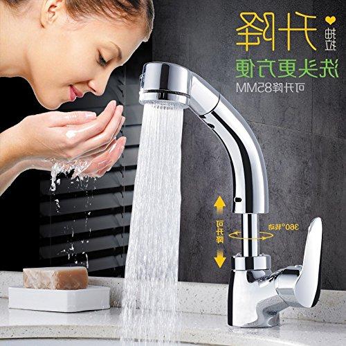 Küche oder Badezimmer Waschbecken Mischbatterie Wasserhahn Messing S voll Kupfer Pull-Down Wasser einzelne Bohrung Wash-Hand Waschbecken Waschbecken Gold Skalierbarkeit und Höhe Becken verfügt über zwei kurze Tippen.