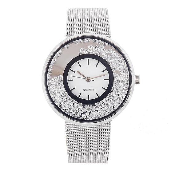 etbotu mujeres moda rodamiento de bolas diamond malla Casual cinturón de cuarzo reloj con correa de acero: Amazon.es: Relojes