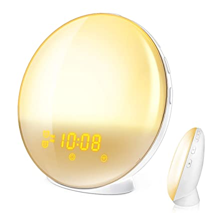 Wake Up Light, HoMii Alarm Clock Compatible with Alexa and Google Home, 7 Colored Sunrise Simulation and Sunset Fading Night Light, FM Radio, 4 Alarm ...