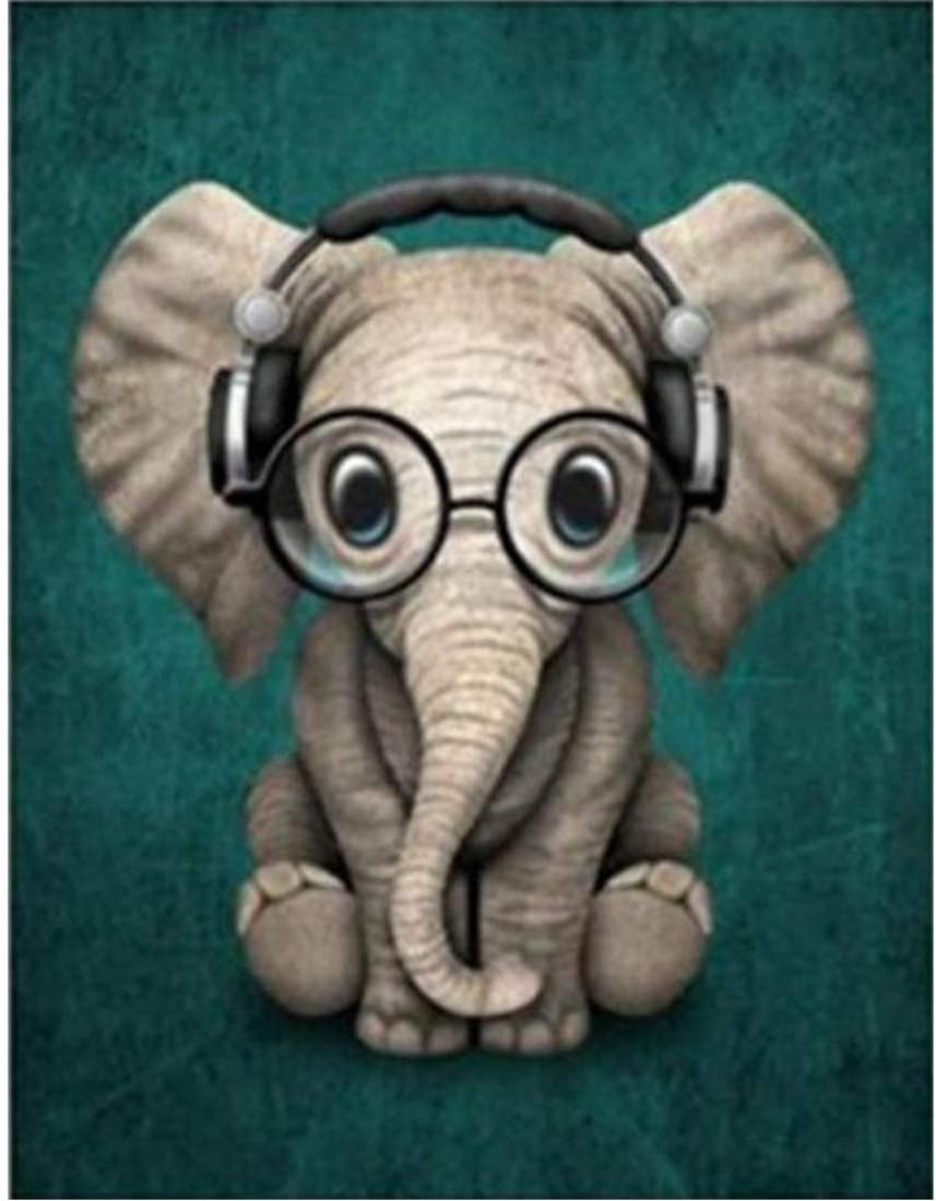 DIY 5D Square Diamond Painting by Number Kit, Full Drill Elephant Wearing Glasses Rhinestone Embroidery Cross Stitch Supply Arts Craft Canvas Wall Decor