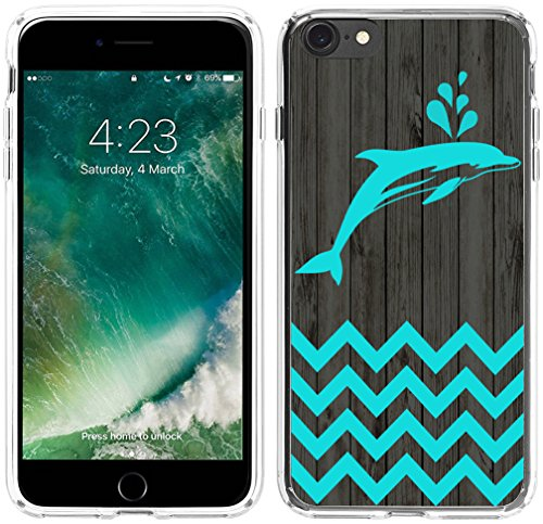 Iphone 6S Plus Case Dolphin, Hungo Apple Iphone 6 Plus Cover Soft Silicone Rubber Protective Chevron Dolphin Animal Theme Pattern
