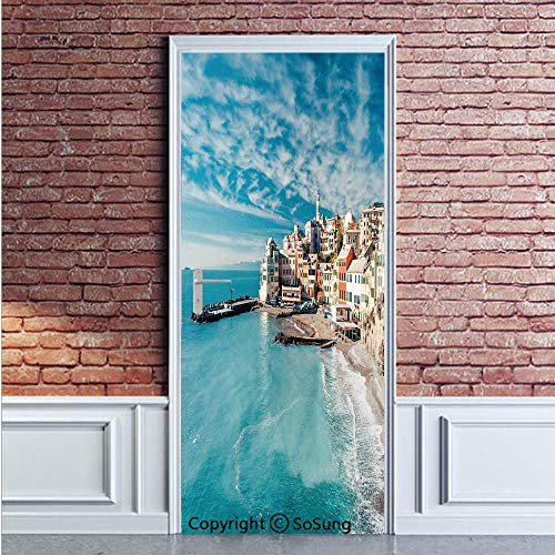 (Farm House Decor Door Wall Mural Wallpaper Stickers,Panorama of Old Italian Fish Village Beach Old Province Coastal Charm Image,Vinyl Removable 3D Decals 35.4x78.7/2 Pieces set,for Home Decor Turquois)