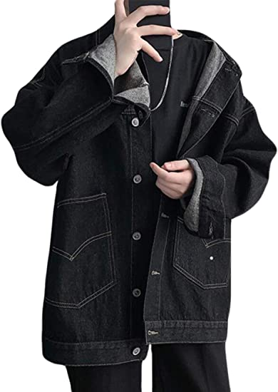 REHOODNデニムジャケット メンズ デニムコート ゆったり コート 薄手 トップス 春秋服 シンプル カジュアル コート お出掛け ファッション