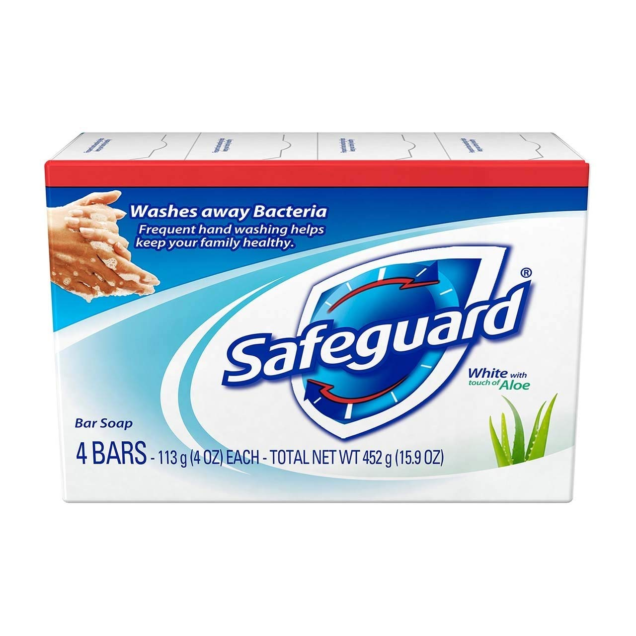 Safeguard Antibacterial Deodorant Soap White with Aloe 4 oz bars, 4ea (Pack of 5)