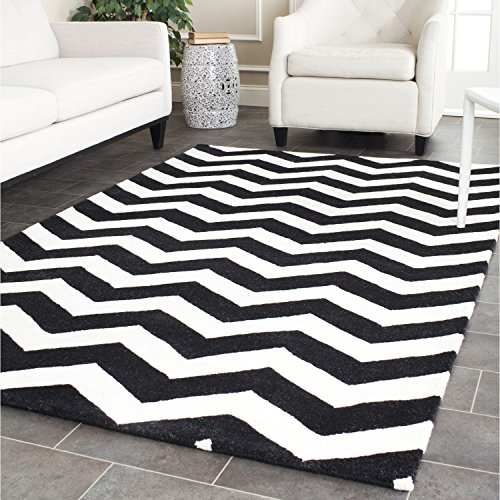 Safavieh Chatham Collection CHT715A Handmade Ivory and Black Premium Wool Area Rug (8' x 10')