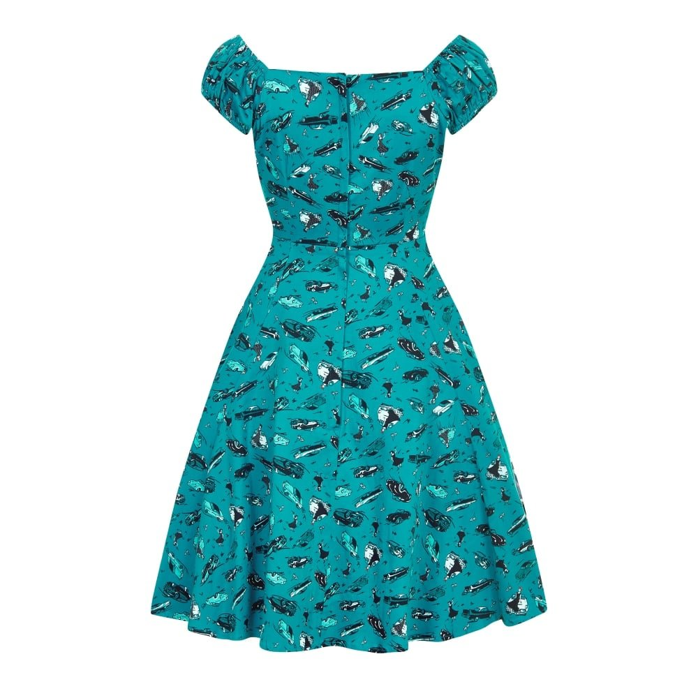 5251c9dc09 Collectif Vintage Women s Teal Flared Mini Dolores 50s Car Print Doll Dress  UK 8  Amazon.co.uk  Clothing