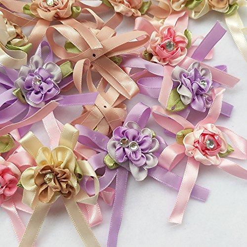 UPC 614993683234, Chenkou Craft 20pcs Satin Ribbon Flowers Bow w/leaf Rhinestone Wedding Sewing Appliques Craft DIY (Ribbon bow(A0269))