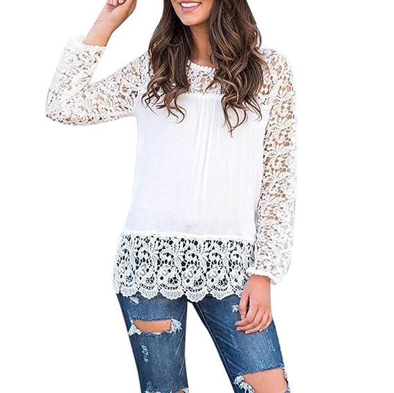Vovotrade Mujer Encaje Largo Manga Casual Suelto Camiseta Blusa Otoño Invierno (S, Blanco)