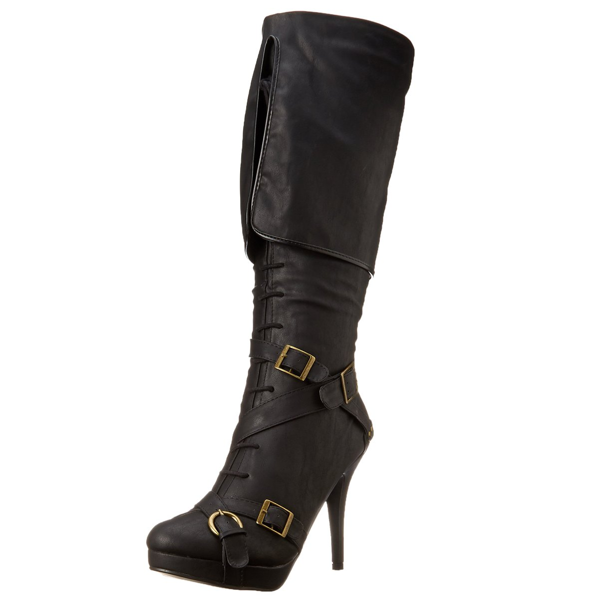 Women's Black Knee-High Fold Over Strappy Pirate Boots - DeluxeAdultCostumes.com