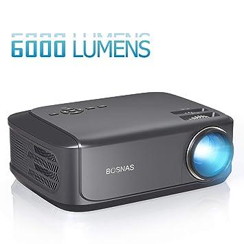 BOSNAS Proyector 6000 Lúmenes Proyector Full HD Soporta 1920 x ...