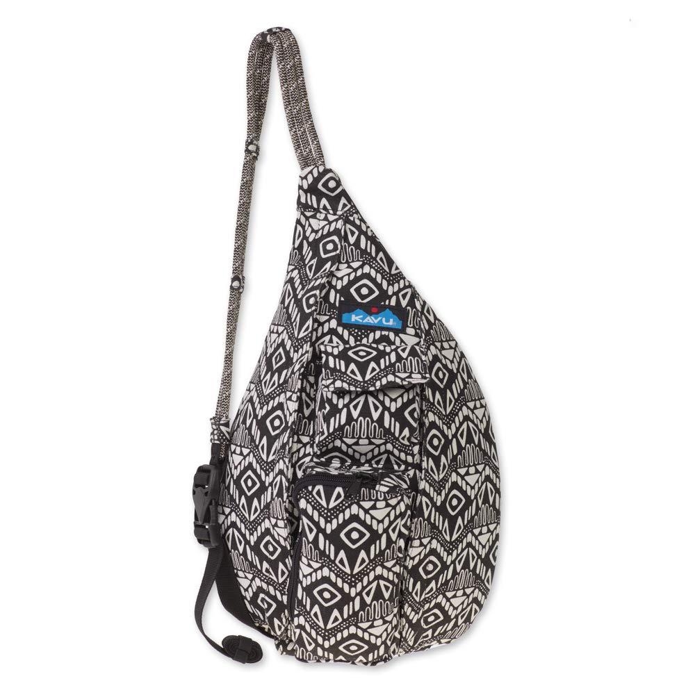 KAVU Mini Rope Bag Crossbody Shoulder Cotton Backpack - Black Batik, One Size