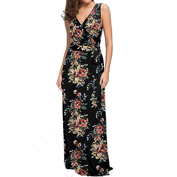 c038a238f24c Usstore Women Gown Tank Maxi Dress Sleeveless Summer Sexy Casual Bohemian  Floral Printed Slim Elegant Beach