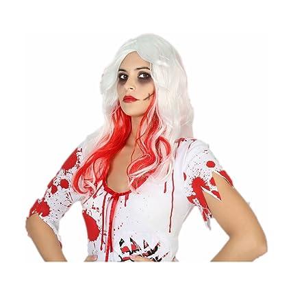 Manzana proibita – Peluca blanca larga pelo rizado Halloween enfermera insanguinata Cosplay, color blanco