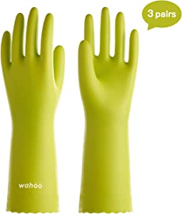 LANON Wahoo Series Reusable Cleaning Gloves PVC Dishwashing Gloves, Cotton Flock Liner, Non-Slip Household Gloves for Gardening, Laundry, Waterproof, Intertek Listed, Large, 3Pairs