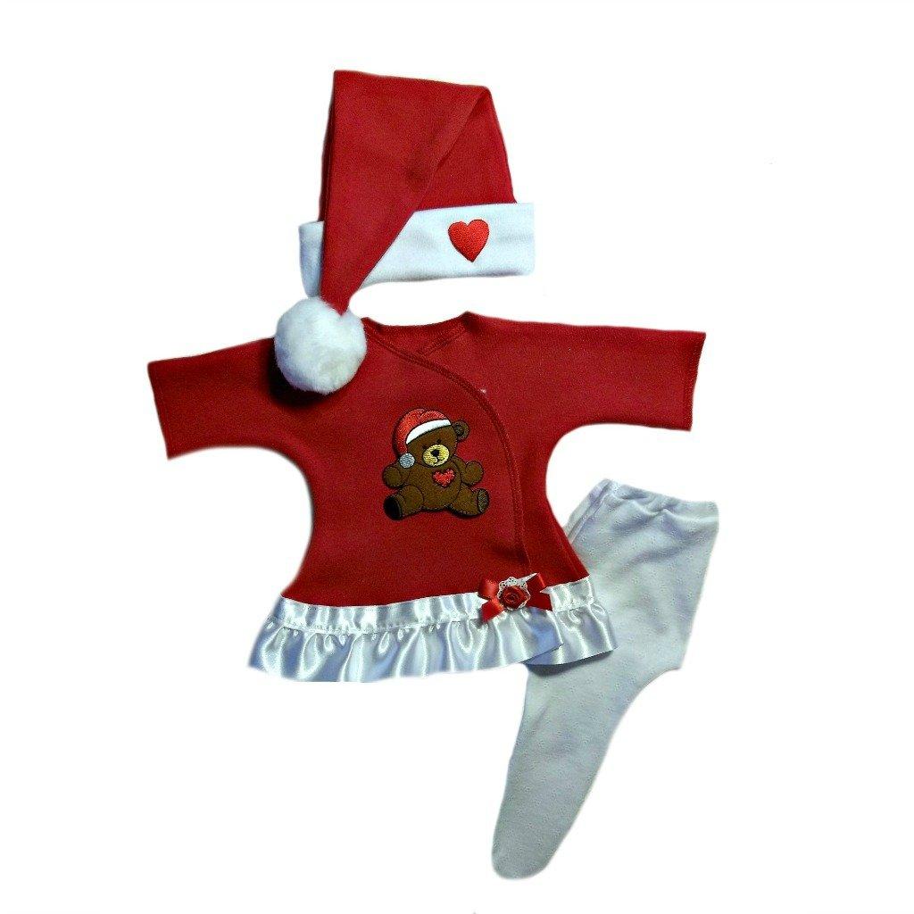 fa3c9d6bd19aa Amazon.com: Jacqui's Baby Girls' Teddy Bear Red Christmas Dress Set:  Clothing