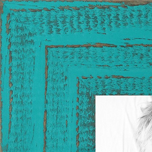 ArtToFrames 8x10 inch Weathered Barnwood in Saturated Turquoise Wood Picture Frame, WOMSM-ECO150-TUR-8x10