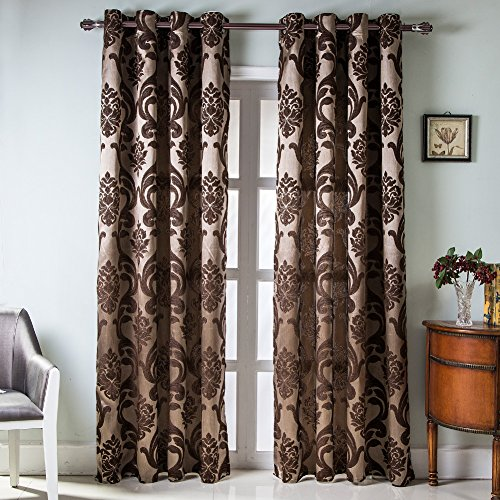 NAPEARL European Style Jacquard Semi-Blackout Grommet Top Window Curtain Panel Set of 2 Panels (Brown, 52