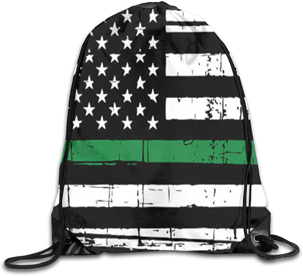 Retro American Flag Beam Mouth Backpack Pull Rope Shoulder Bag Outdoor Sports Leisure Bag