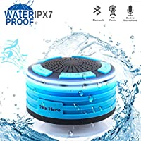 Shower Radios, IPX7 Waterproof Bluetooth Speaker with Built in FM Radio and Breathable LED Light, Portable Wireless Speaker for Bathroom, Beach, Pool, Outdoor
