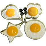 uxcell Stainless Steel Kitchen Non-stick Omelette Egg Mold Mould Pancake Ring Shaper with Collapsible Handle (4 in 1)