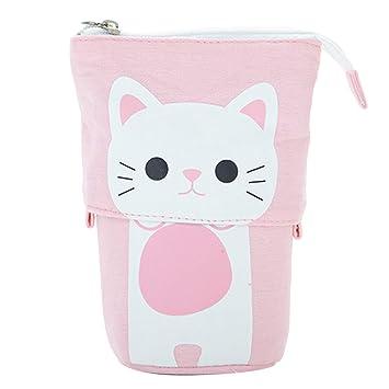 Estuche para lápices, bonito transformador de dibujos animados de gatos, telescópico, soporte para lápices, estuche, bolsa con cierre de cremallera rosa: ...