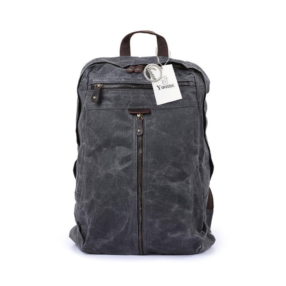 Yoome Canvas Laptop Backpack Hiking Travel Rucksack Unisex Vintage Leather Casual School College Bags Business Daypack - Dark Grey