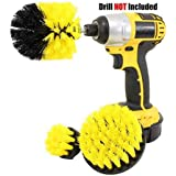Drill Brush Attachment Set - Power Scrubber Brush Cleaning Kit - All Purpose Drill Brush for Bathroom Surfaces, Grout, Floor, Tub, Shower, Tile, Corners and Kitchen - Medium, Yellow,Yellow
