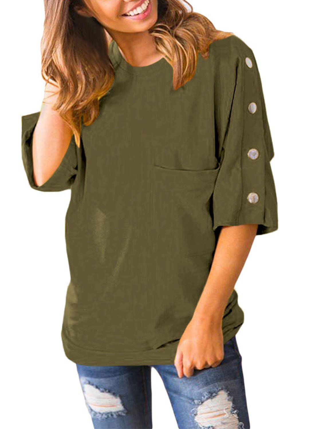 Azokoe 2018 Fashion Autumn 3/4 Sleeves Shirts Women Summer Tunic Tops Pocket Solid Color Buttons Crew Neck Army Green Plus Size 2XL